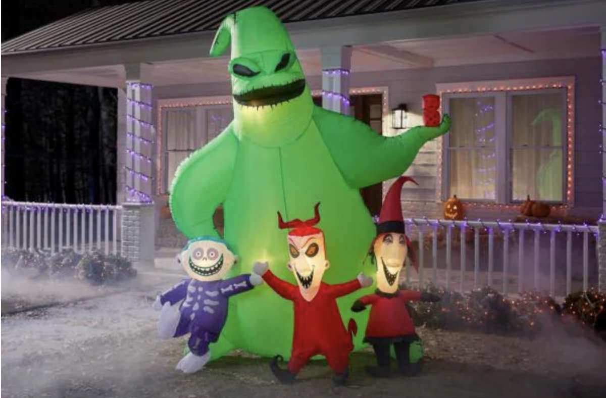 9 ft. Oogie Boogie with Lock Shock and Barrel Scene Airblown Disney Halloween Inflatable, $179 at Home Depot